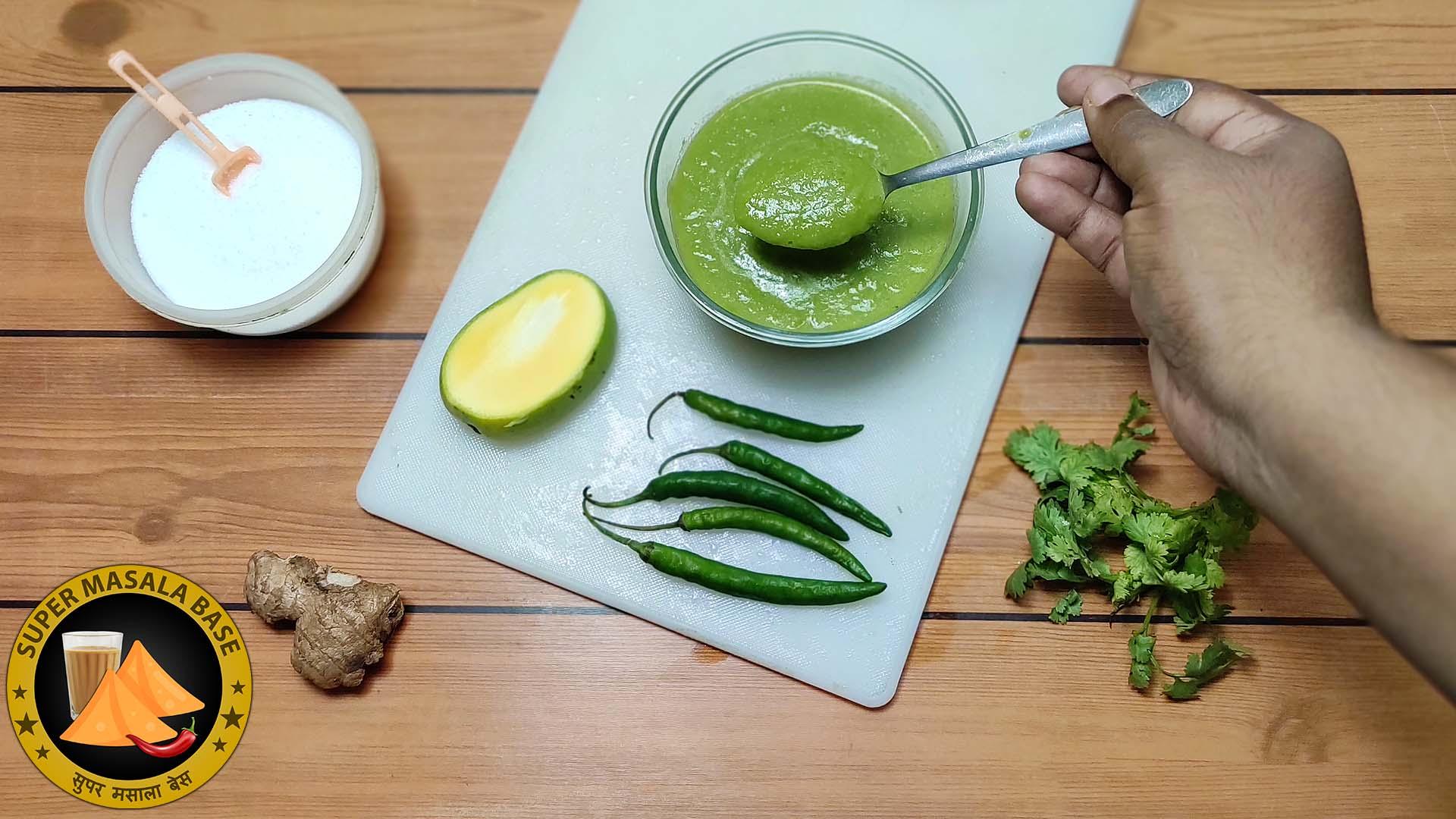 kachhe aam ki teekhi chatni raw green mango chilli chutney